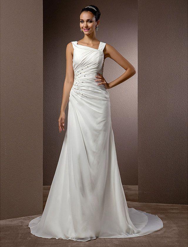 a75e888f71 Sheath Column Plus Sizes Wedding Dress - Ivory Court Train Straps Chiffon  2015 –  139.99