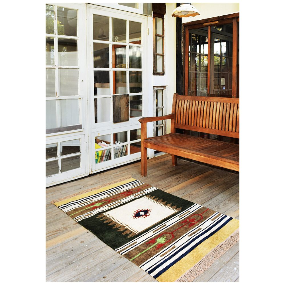 Center Rug KILIM Tapestry Floor Mat Viscose Cotton Weaving