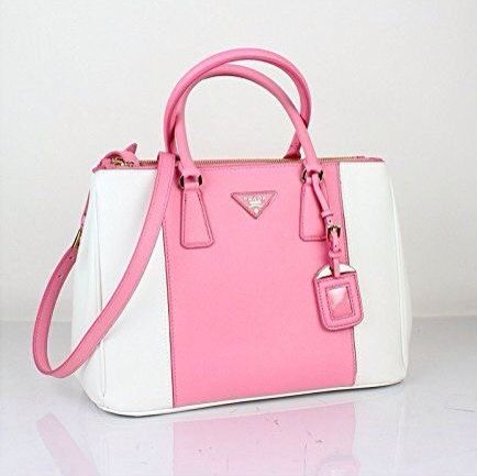 7a7d261be476 Prada Saffiano Pink White Leather Shoulder Bag