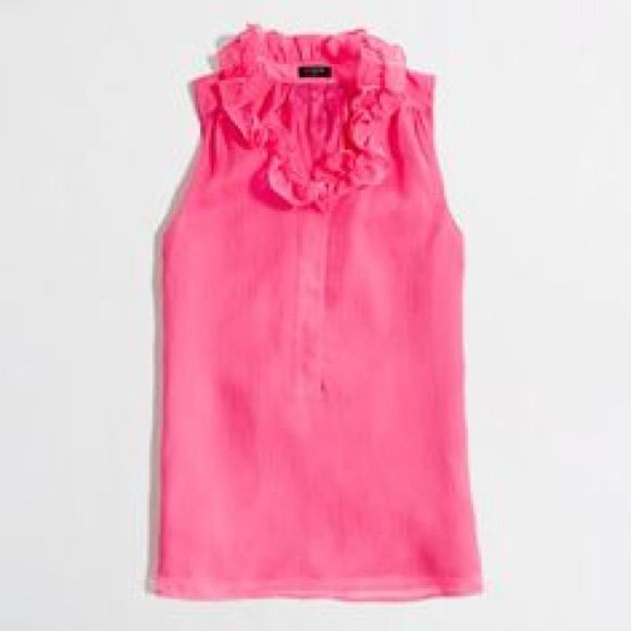 JCREW Coral satin ruffle top - barely worn!  Great JCREW satin ruffle top. Barley worn! Great pop of color. Fits more like a small/medium J. Crew Tops
