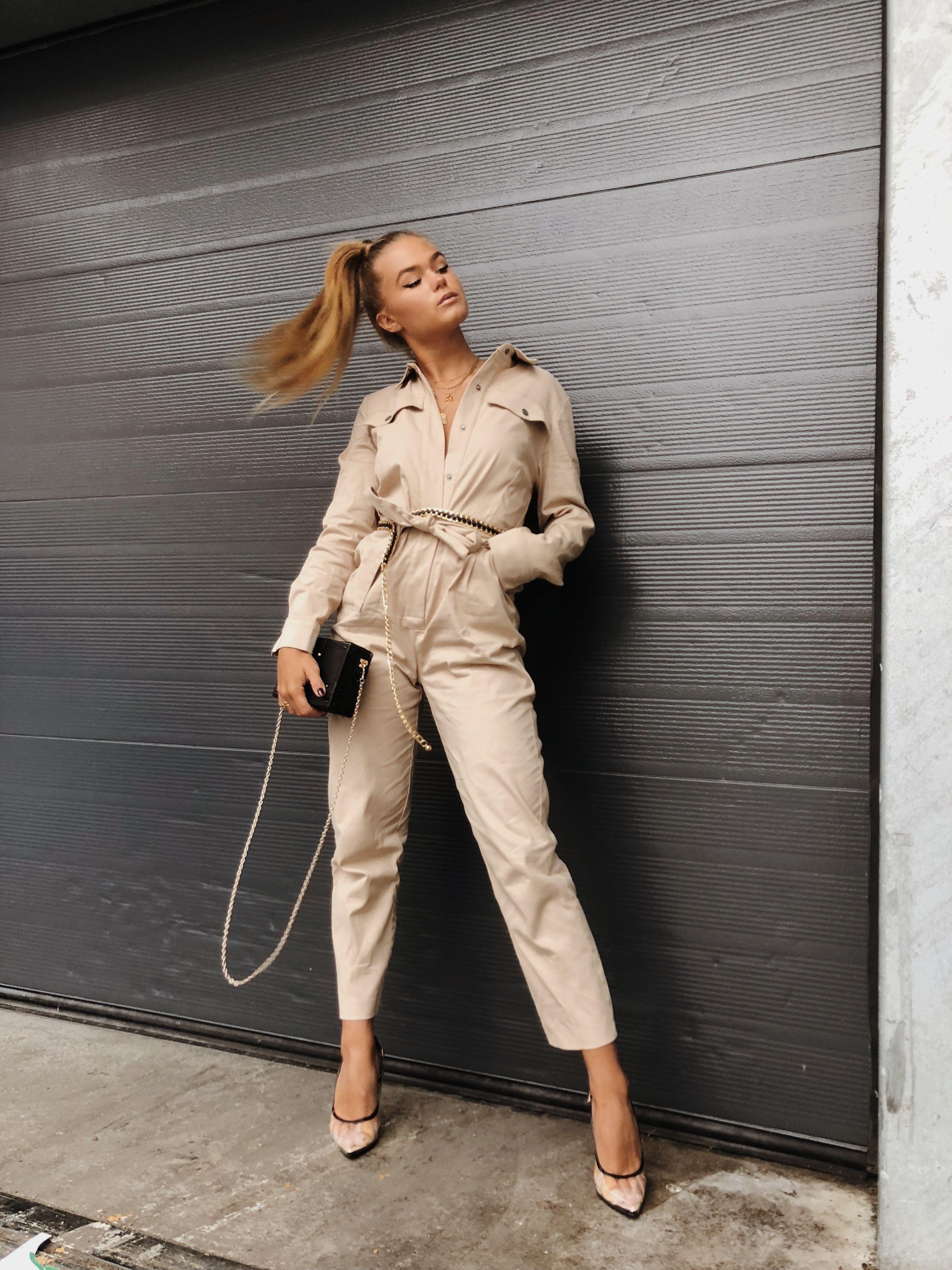 Wonderlijk Shop best sellers at NA-KD.com | Tied Waist Belted Jumpsuit Beige SC-21