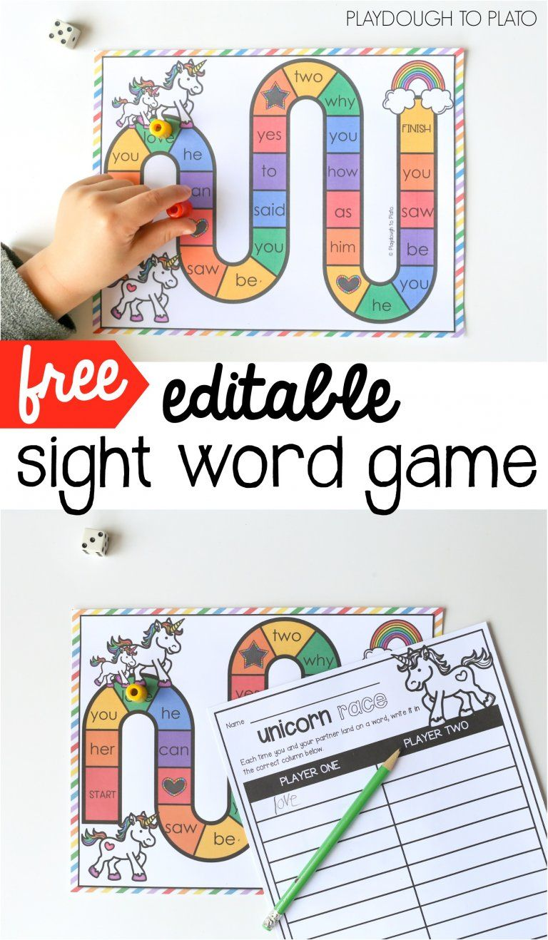 Unicorn sight word game word work activities word games and word work