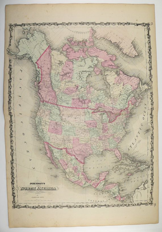 north america 1863 antique handcolored johnson map united states canada mexico central america west indies by