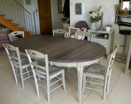 Table peinte et c ruse plateau d coration diy for Salle a manger ceruse