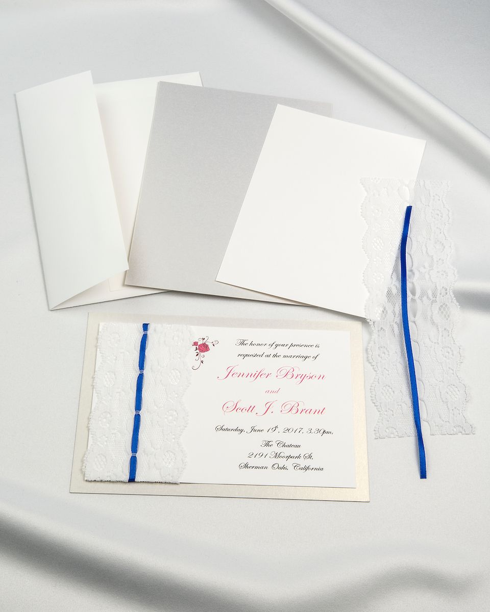 Silver mist threaded real lace DIY invitation kits Design every inch ...