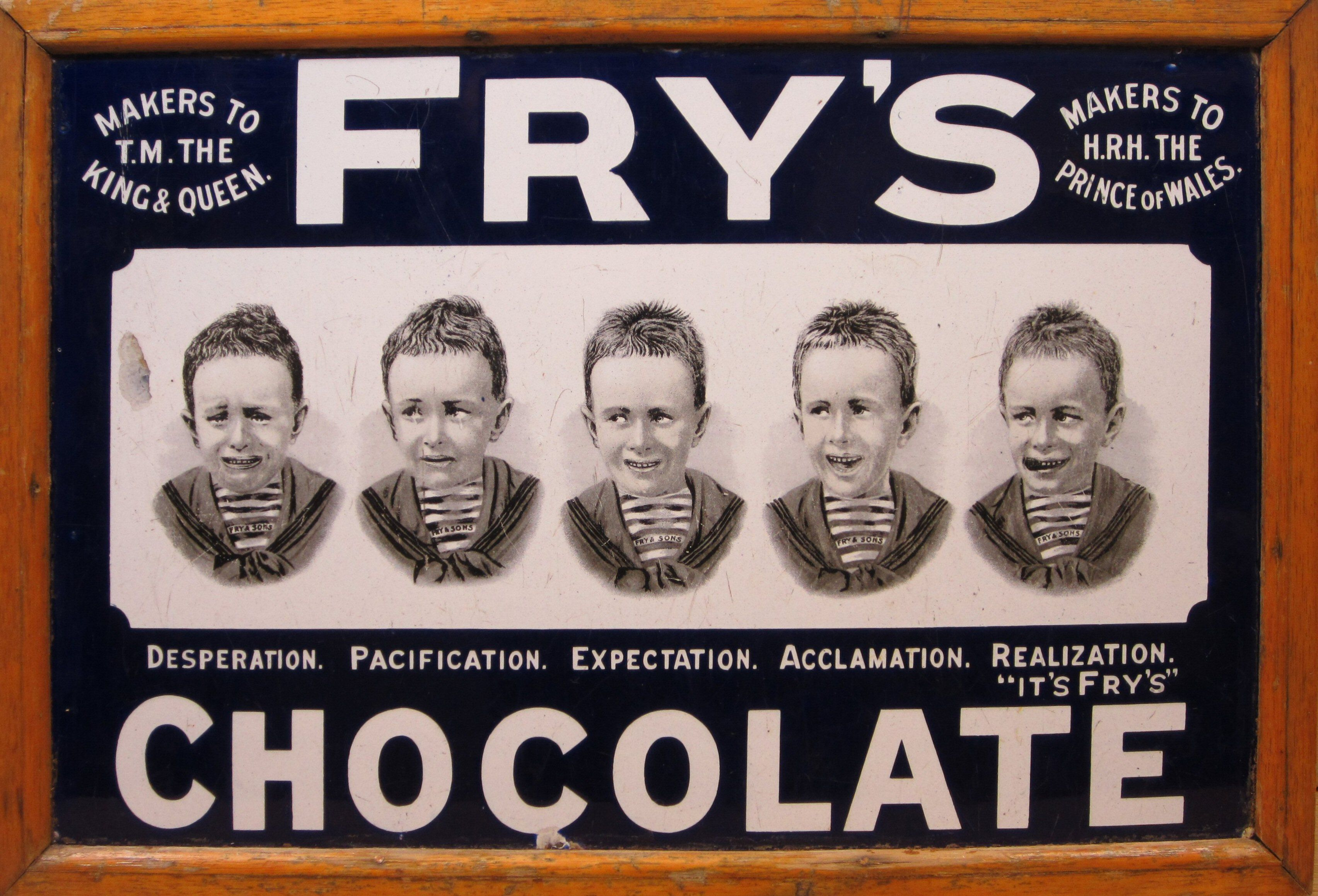 Frys Chocolate Five Boys Enamel Advertising Sign Sold