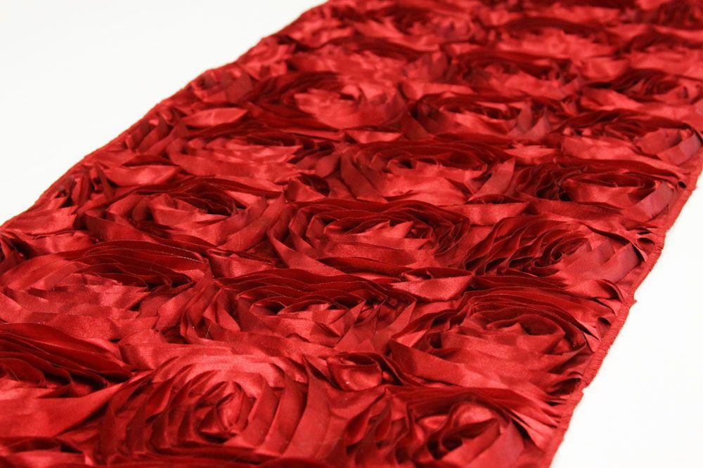 wedding rosette satin table runner apple red diy valentine s day