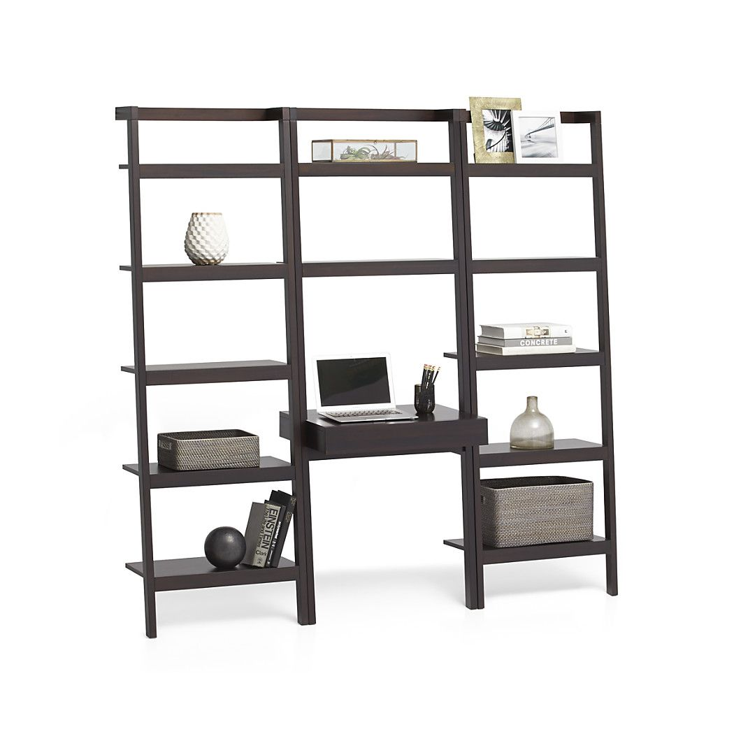 Sawyer mocha leaning desk with two