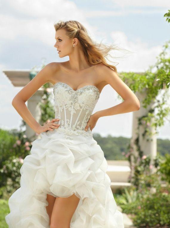 Sweatheart Strapless Beading Lace Wedding Dresshigh Low Beach Dressesshort Bridal Ball