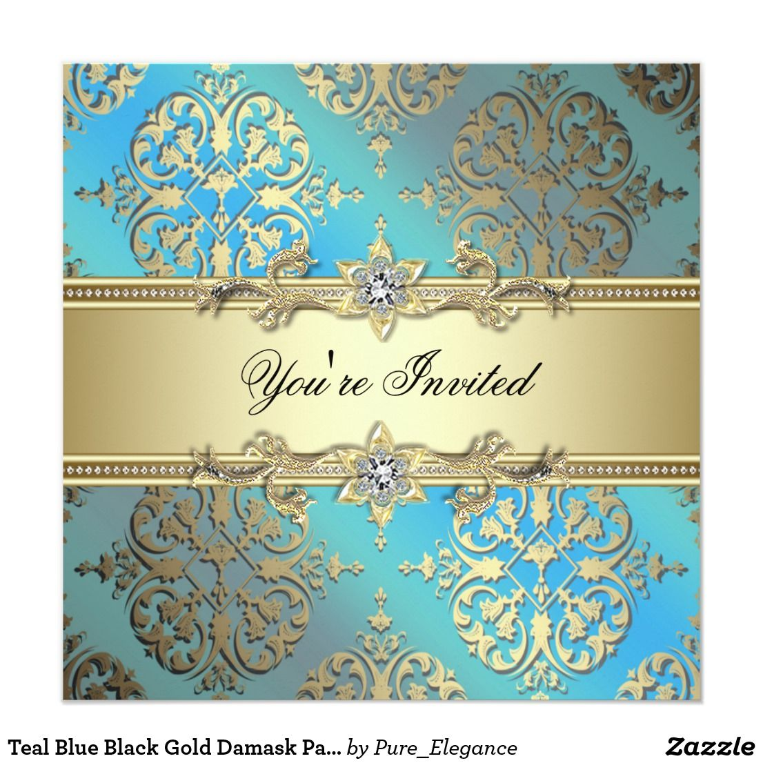 Teal Blue Black Gold Damask Party Invitation | Damask party, Party ...