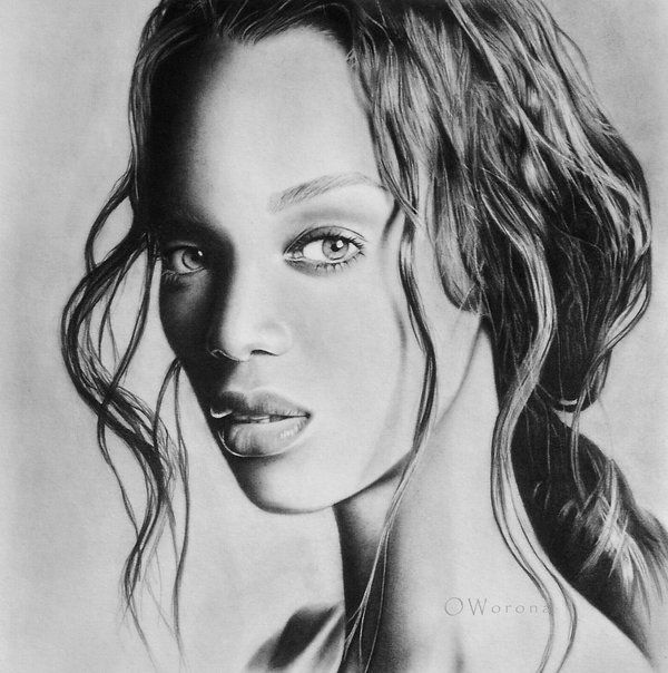 Tyra Banks Black And White: Tyra Banks Drawing By Oxana Worona