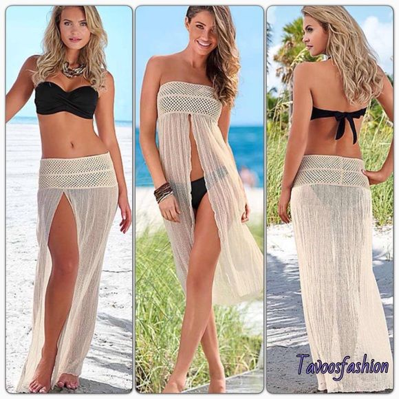 Beach Cover ups Looks as pictures NWOT. IF U ARE INTERESTED IN ORDERING PLEASE LET NE KNOW I WILL MAKE A NEW LISTING....................Color / Beige * Fabric / Cotton ,Imported * Size / One Size * Clothing Length (cm) /  94 * Clothing Bust (cm) /  80-95 * Clothing Waist (cm) / 75-95   * Elastic crochet waistband for perfect fit       ABOUT WASHING: Hand wash cold,Do not bleach,Hang to dry or lay flat,Do not iron Tops