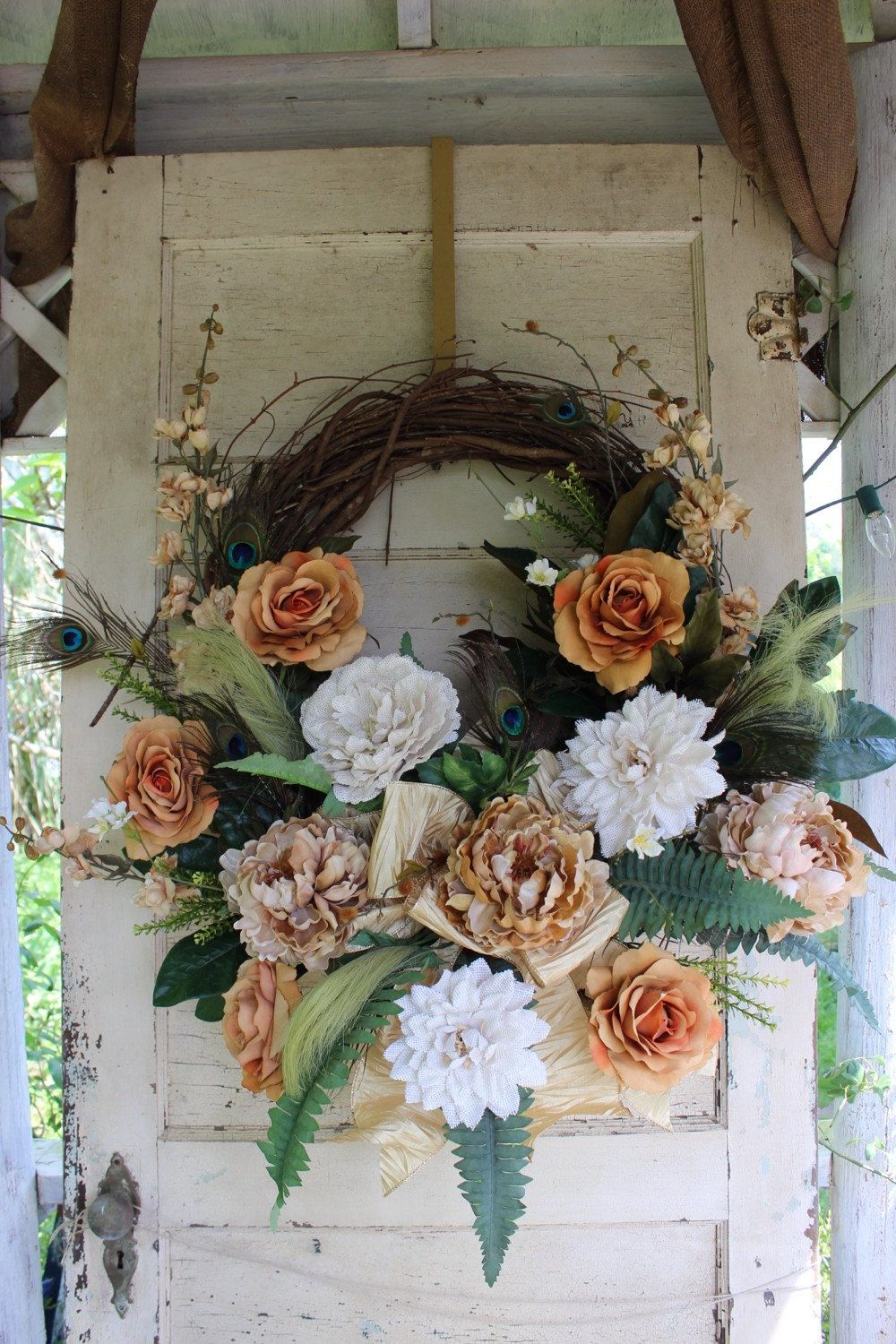 Saved For Janice Grapevine Wreath Blush Gold Cream And Brown