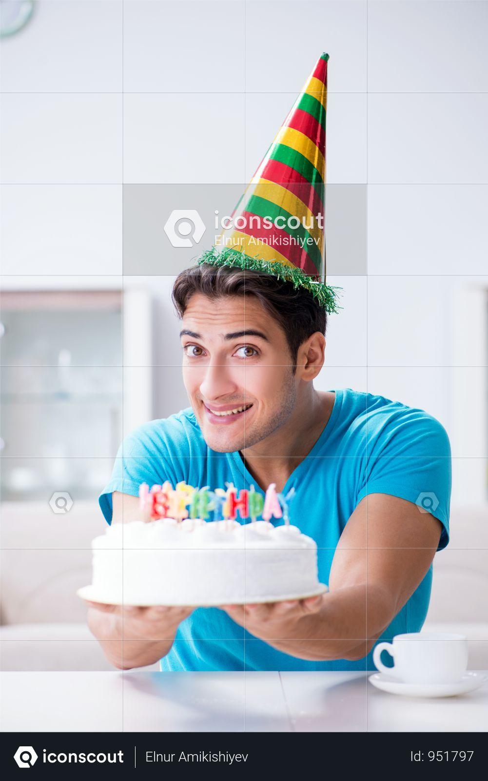 Young Man Celebrating Birthday Alone At Home Photo Birthday Celebration Birthday Decorations For Men Birthday