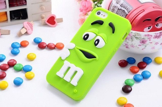 New Arrive M&M's chocolate candy rubber soft silicone cover for Iphone