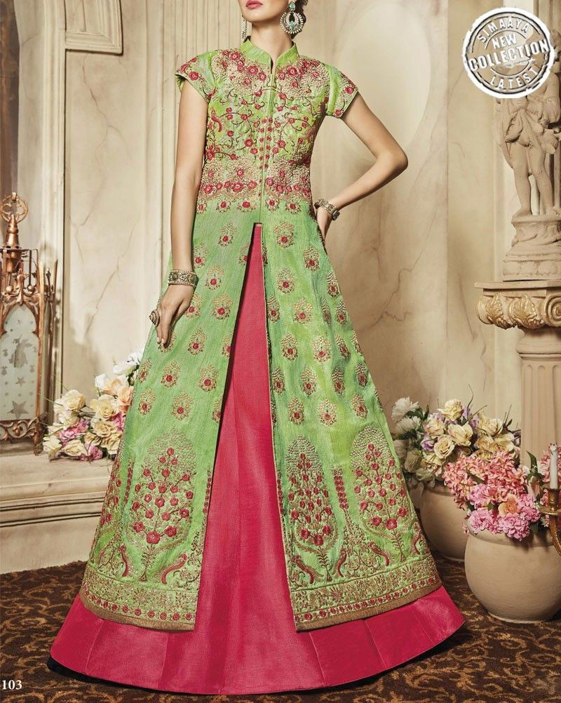Fancy Lehenga In Pink Colour-SSA4103 | Pink lehenga, Long choli lehenga, Jacket lehenga