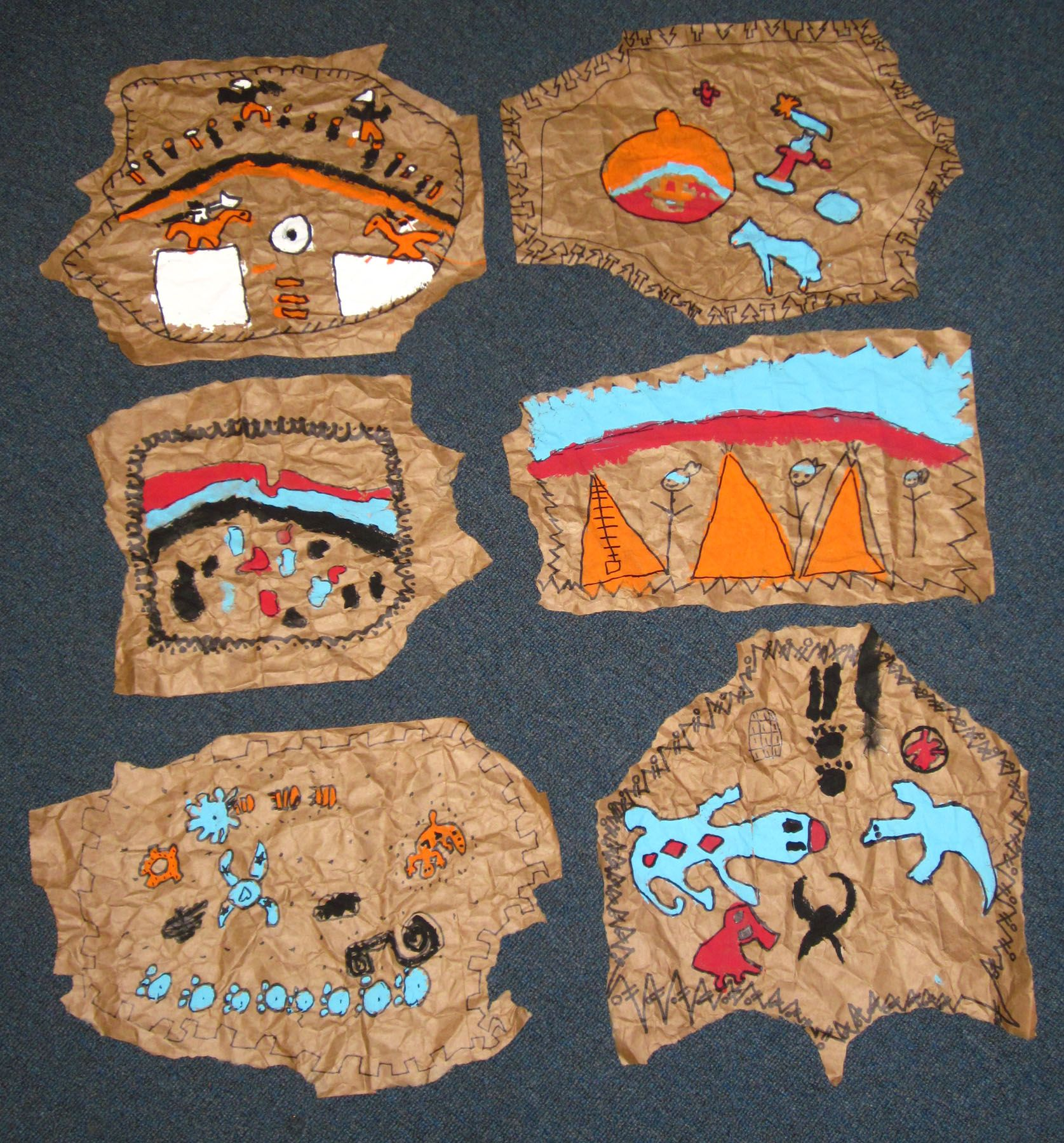 Paper bag activity - Native American Brown Paper Buffalo Hides 2nd 3rd Grade