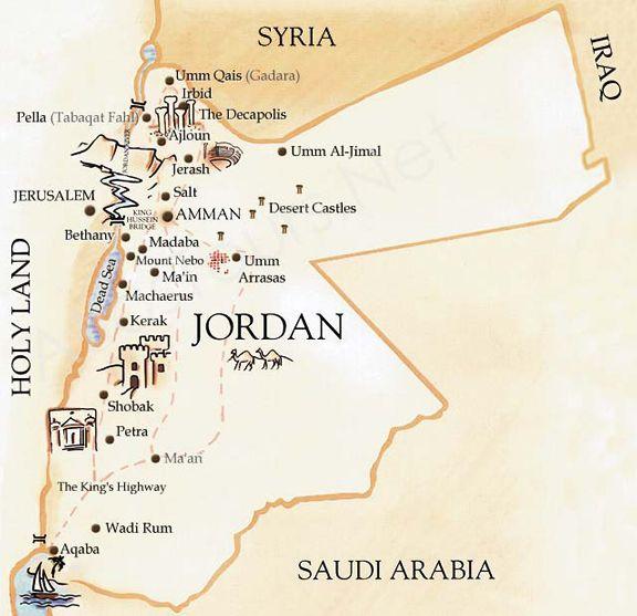 Map of jordan jordan pinterest jordan tours jerash and buckets map of jordan gumiabroncs Images