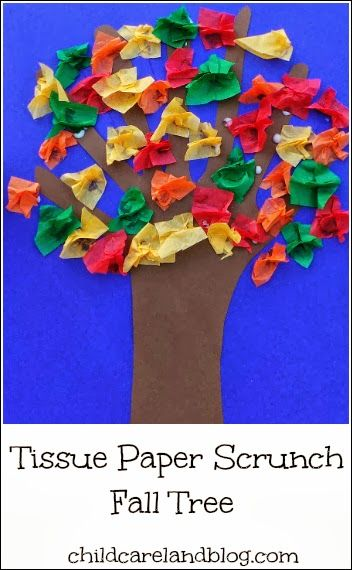 Tissue Paper Scrunch Fall Tree