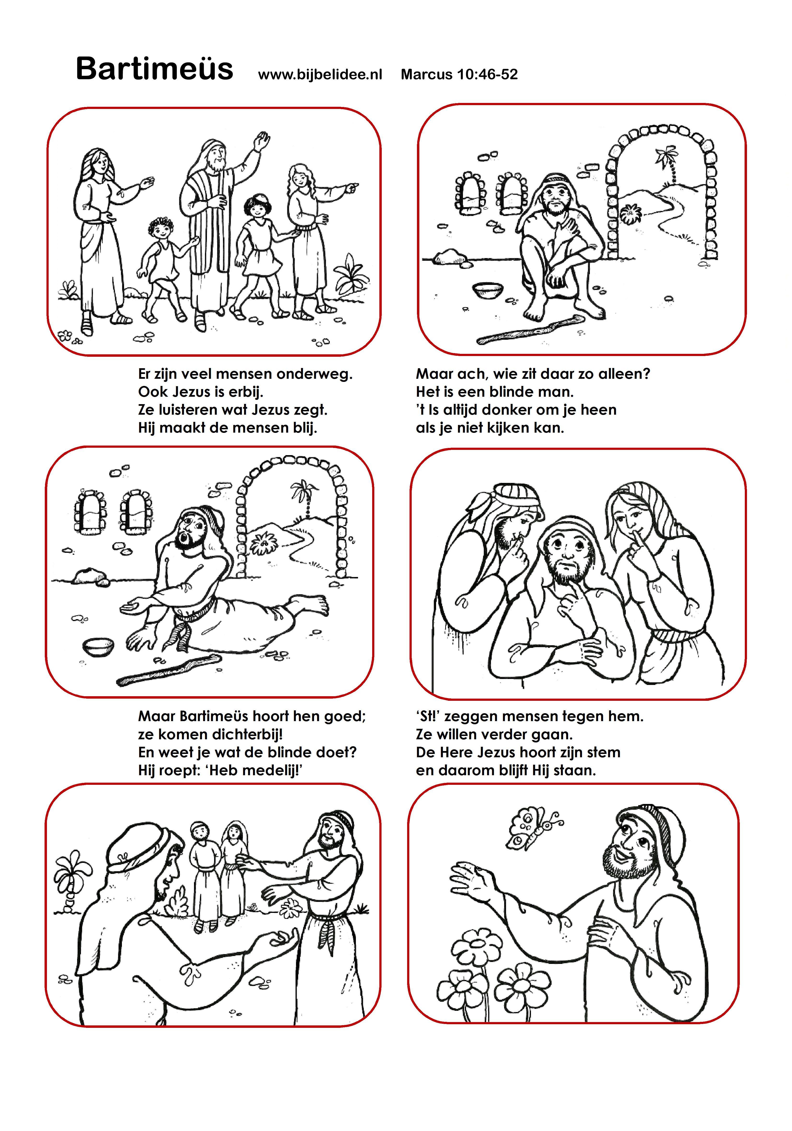 Bartimeus Marcus 10 46 52 Verhaal En Kleurplaten Bijbel Lessen Godsdienstles Bijbel Knutselen