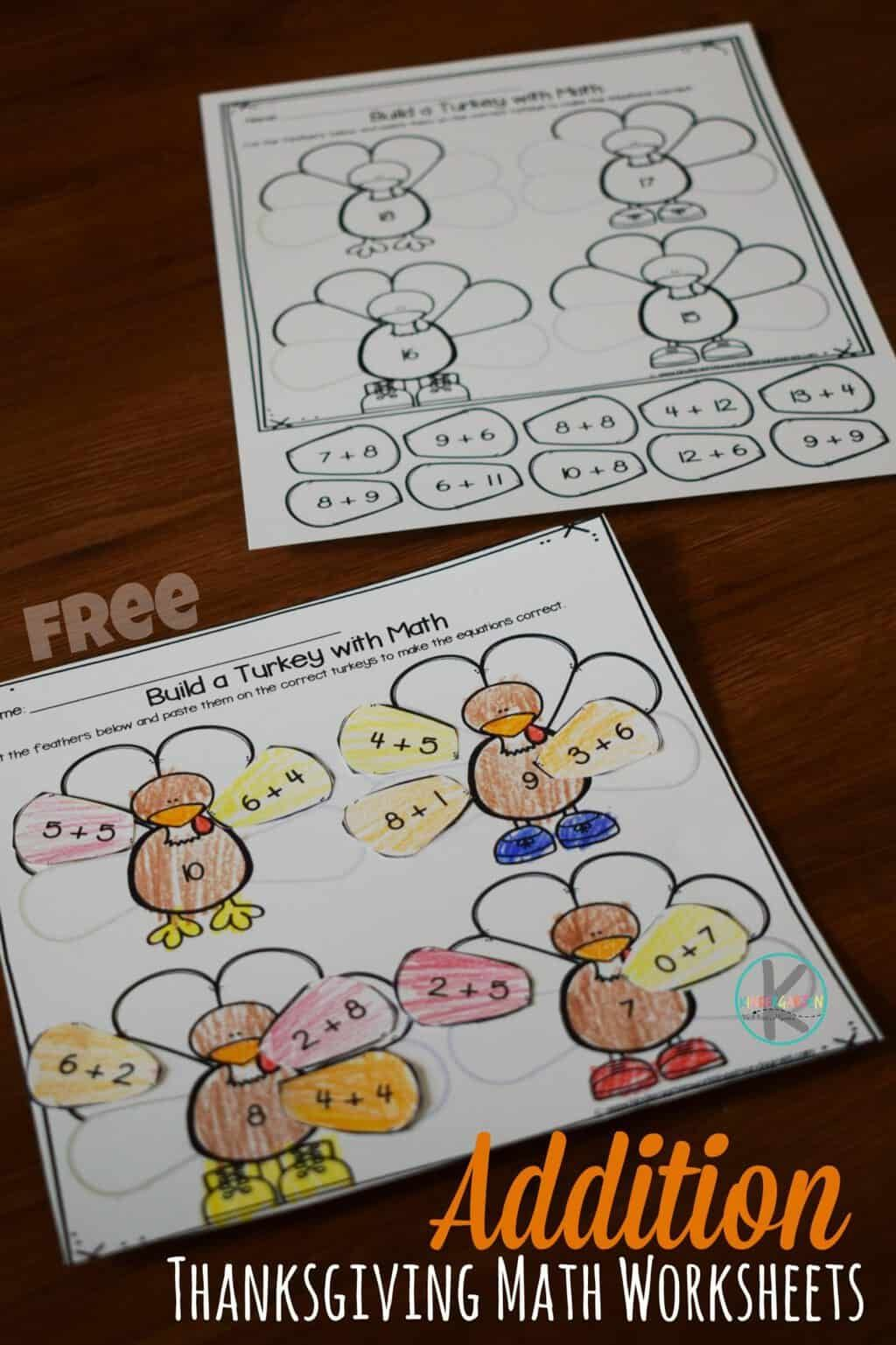 Free Addition Thanksgiving Math Worksheets