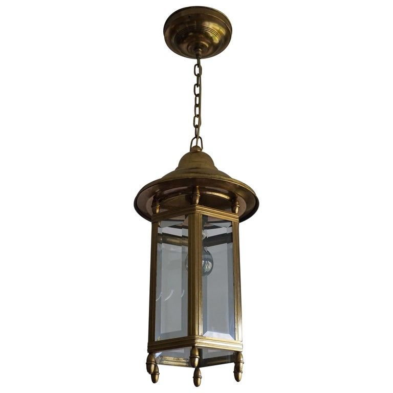 Antique arts and crafts brass and beveled glass entry hall