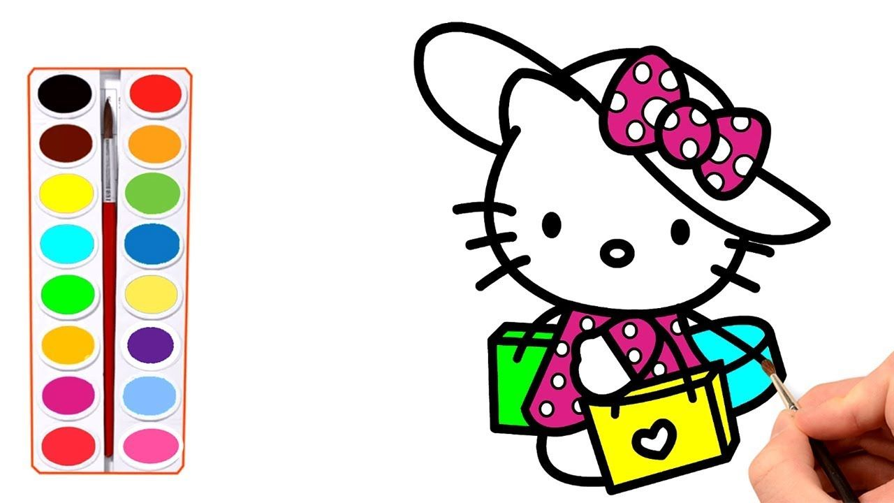 Hello kitty shopping coloring pages for kids hello kitty coloring pages