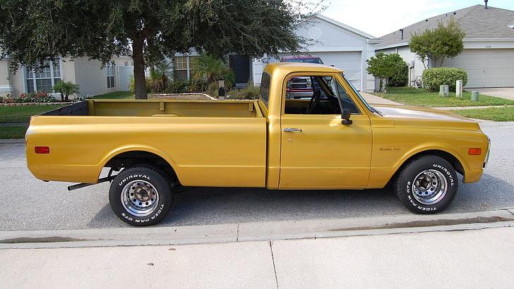 Yellow Single Cab Pickup Truck Chevy Chevrolet 1967 1968 Hd Wallpaper Wallpaper Free Download Single Cab Hd Wallpaper