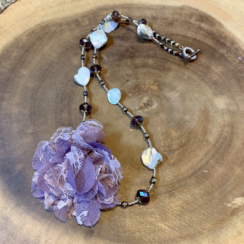 Lavender Flower Necklace Floral Spring Necklace Fall Etsy In 2020 Spring Necklaces Gold Bead Necklace Bohemian Jewelry