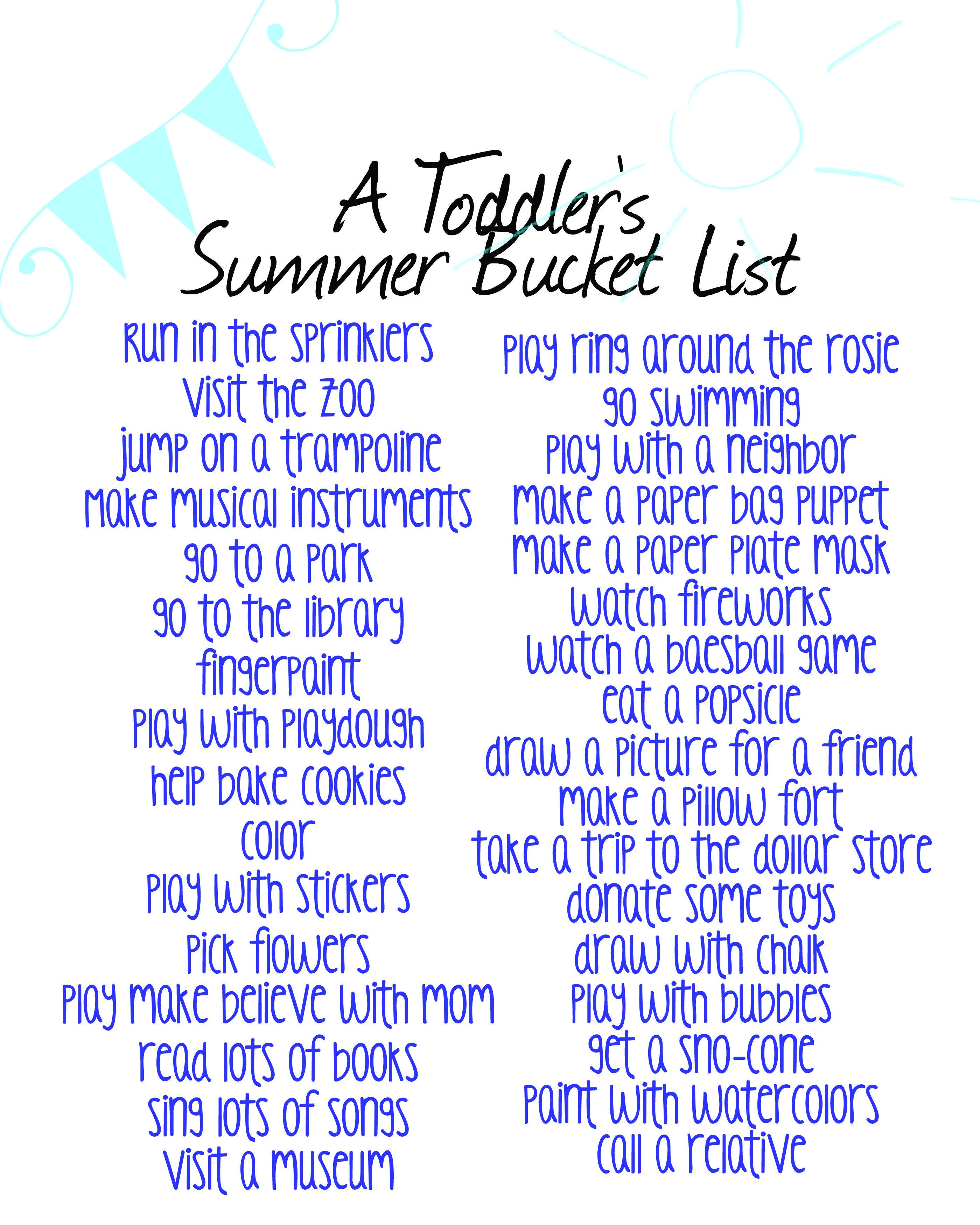 A Toddler S Summer Bucket List