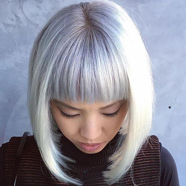 Micro bangs, macro style. Have the courage to make the cut. #T3Inspo via @bellesirenesalon #T3Micro #bangs #shorthair #whitehair #bob #hairbob