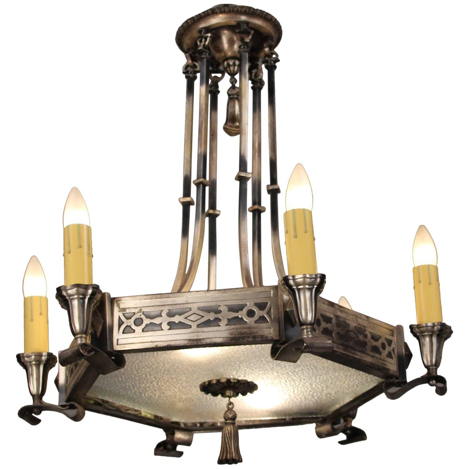 Hard to find 1920s chandelier with silver tone finish and hard to find 1920s chandelier with silver tone finish and illuminated bottom arubaitofo Image collections