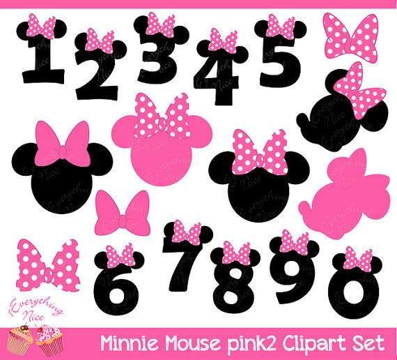 Minnie Mouse Pink 2 Clipart Set by 1EverythingNice on Etsy