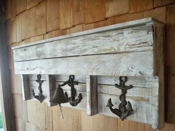Items Similar To Nautical Boat Anchor And Bell Pallet Coat Rack And Shelf On Etsy Pallet Coat Racks Pallet Nautical