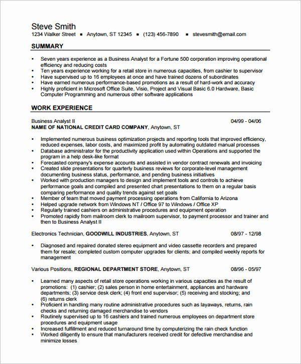 Business Analyst Resume Summary Examples Luxury Best