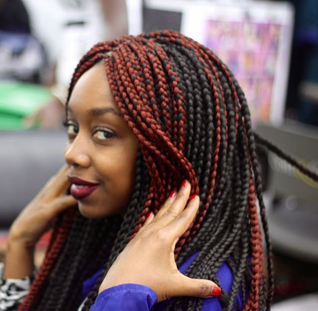 Red black box braids by daba fashion hair inspiration for Salon tresse africaine