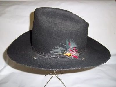 Vintage Trail Ridge Fur Blend Black Cowboy Hat Dynafelt  fb158cea8ac0