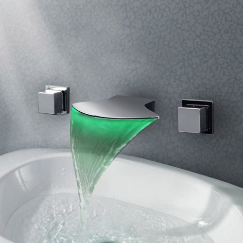 Wall Mounted Led Waterfall 3pcs Bathroom Basin Faucet Mixer Tap Wall Mounted Bathroom Sinks Modern Bathroom Faucets Bathroom Sink Taps