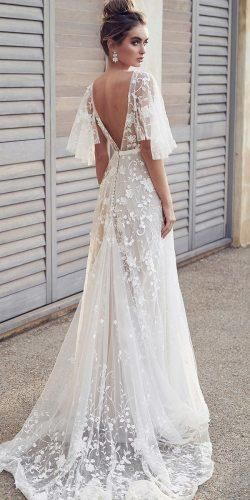 Latest Wedding Dresses 2020/2021 ★  wedding dresses 2019 a line v back floral lace with flowy sleeves anna campbell