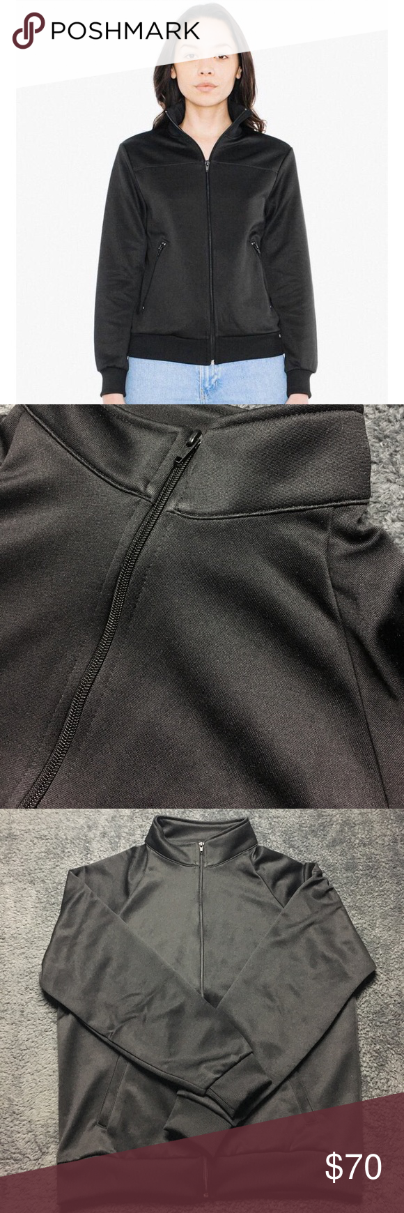 American Apparel ~ Black ~ Women's Track Jacket Condition :: New with tags 🏷  Brand 🛍 ::  American Apparel   Size :: M ; Medium   Description :: Model wearing a size small. Never worn before. Poly/Cotton for superior shape. Ripped mock neck collar with full zipper. American Apparel Jackets & Coats