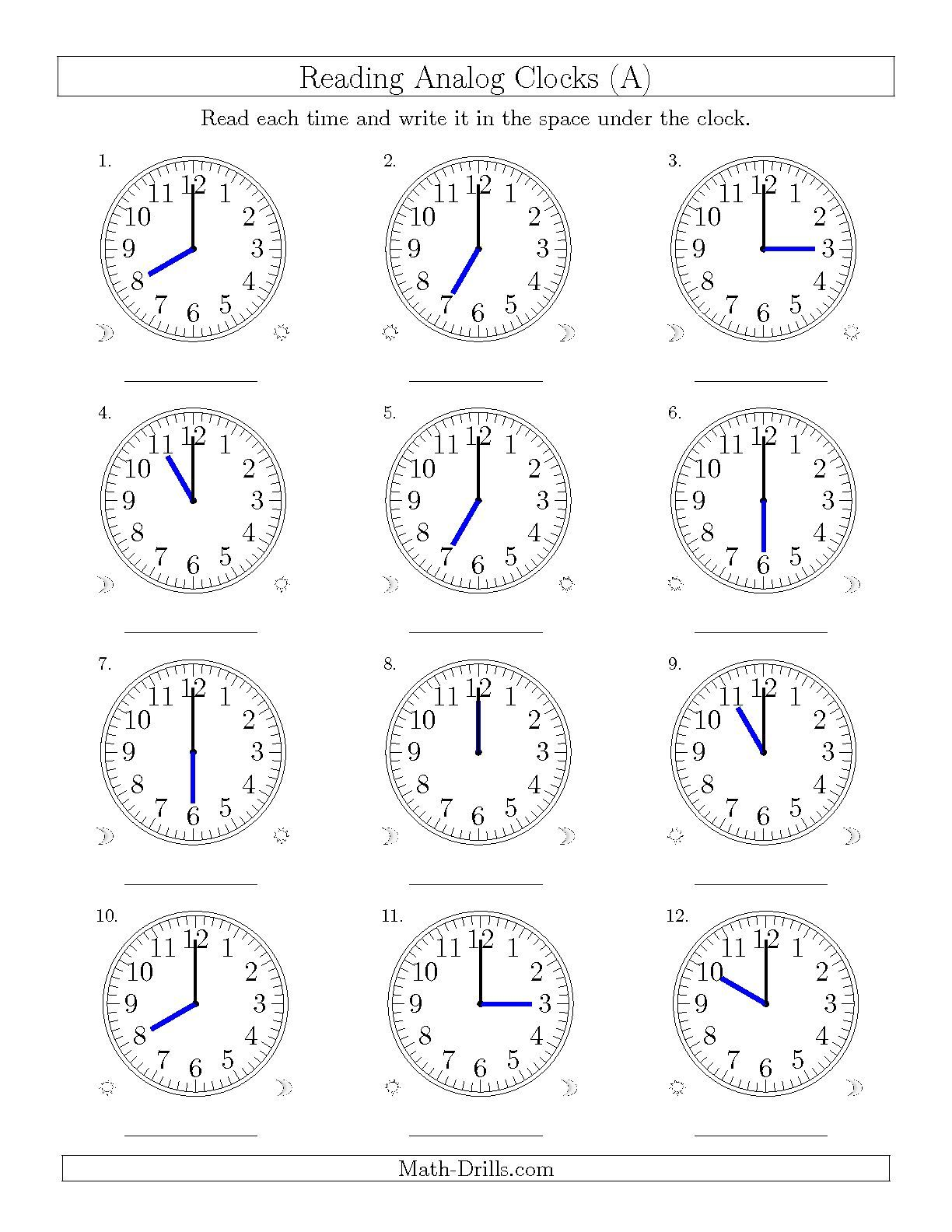The Reading Time On 12 Hourog Clocks In One Hour Intervals A Math Worksheet From The Time