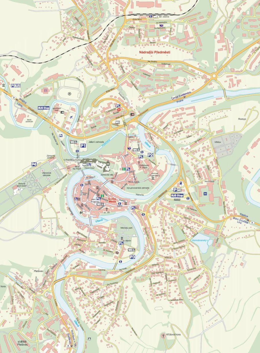 Mapa Mesta Cesky Krumlov Cesky Krumlov Mapa Mesto
