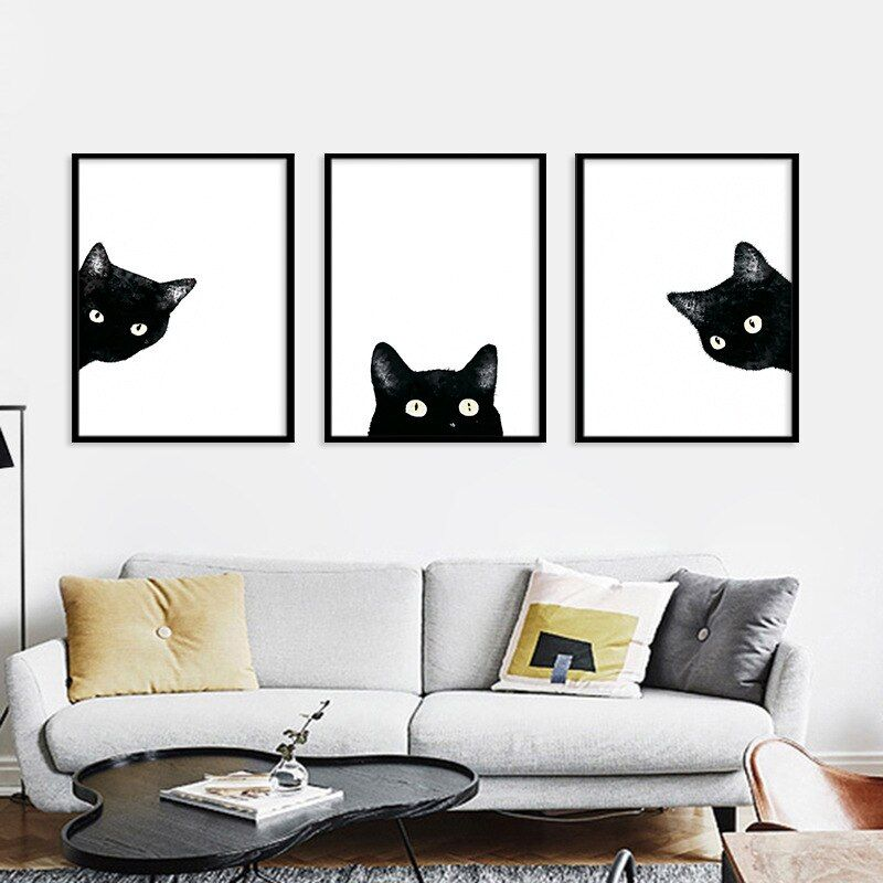 Cat Canvas Art Painting Poster Kids Room Picture Wall Home Decoration