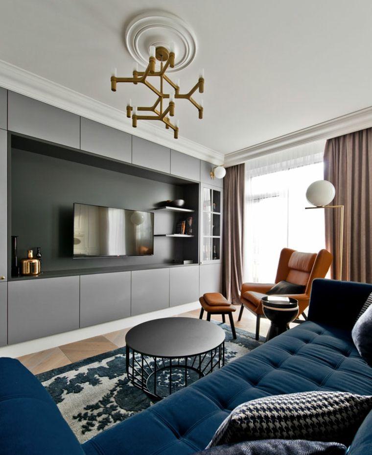 Idee per arredare casa, arredamento soggiorno con un divano blu e ...