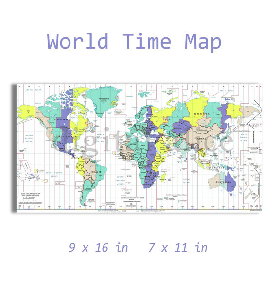 Universal Time Zone Map.Modern Time Zone Map Instant Download Digital Printable Universal