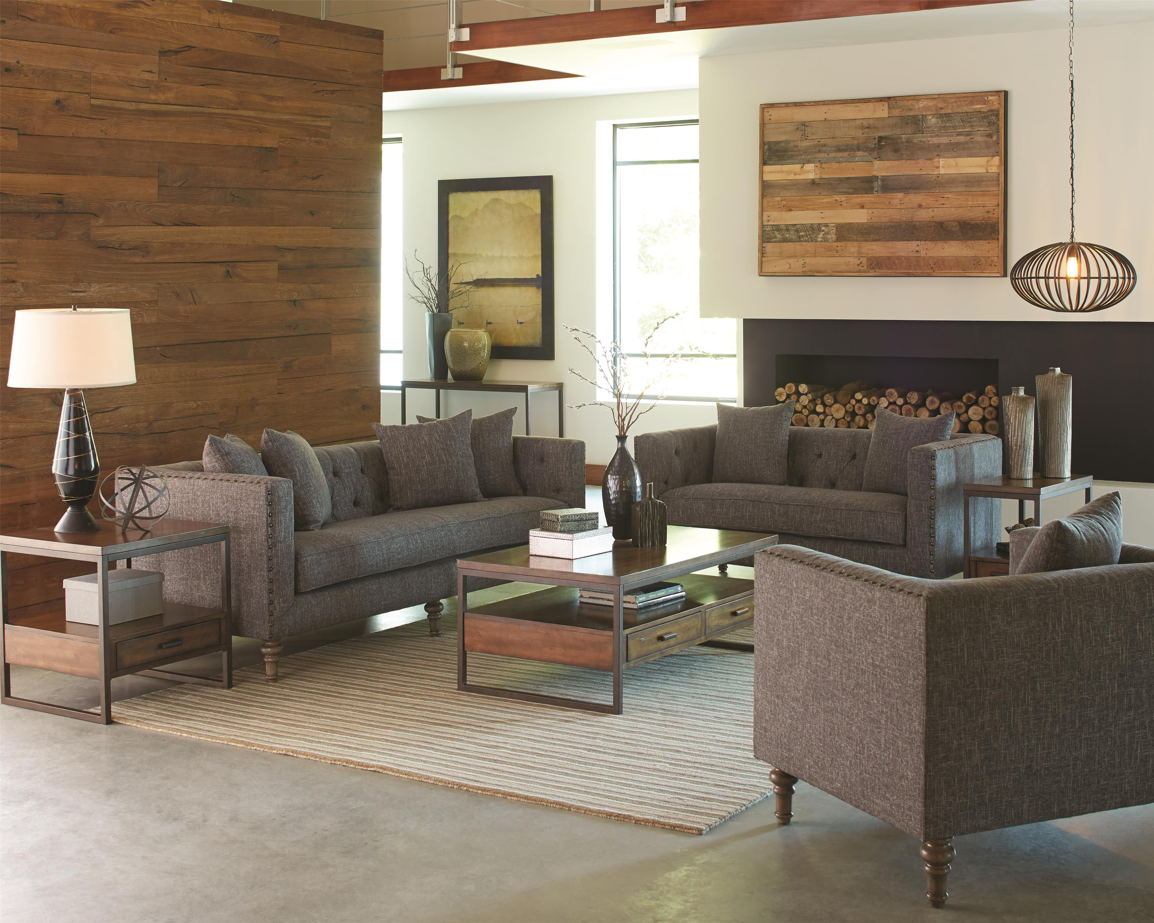 Ellery Sofa With Traditional Industrial Style By Coaster Rustic