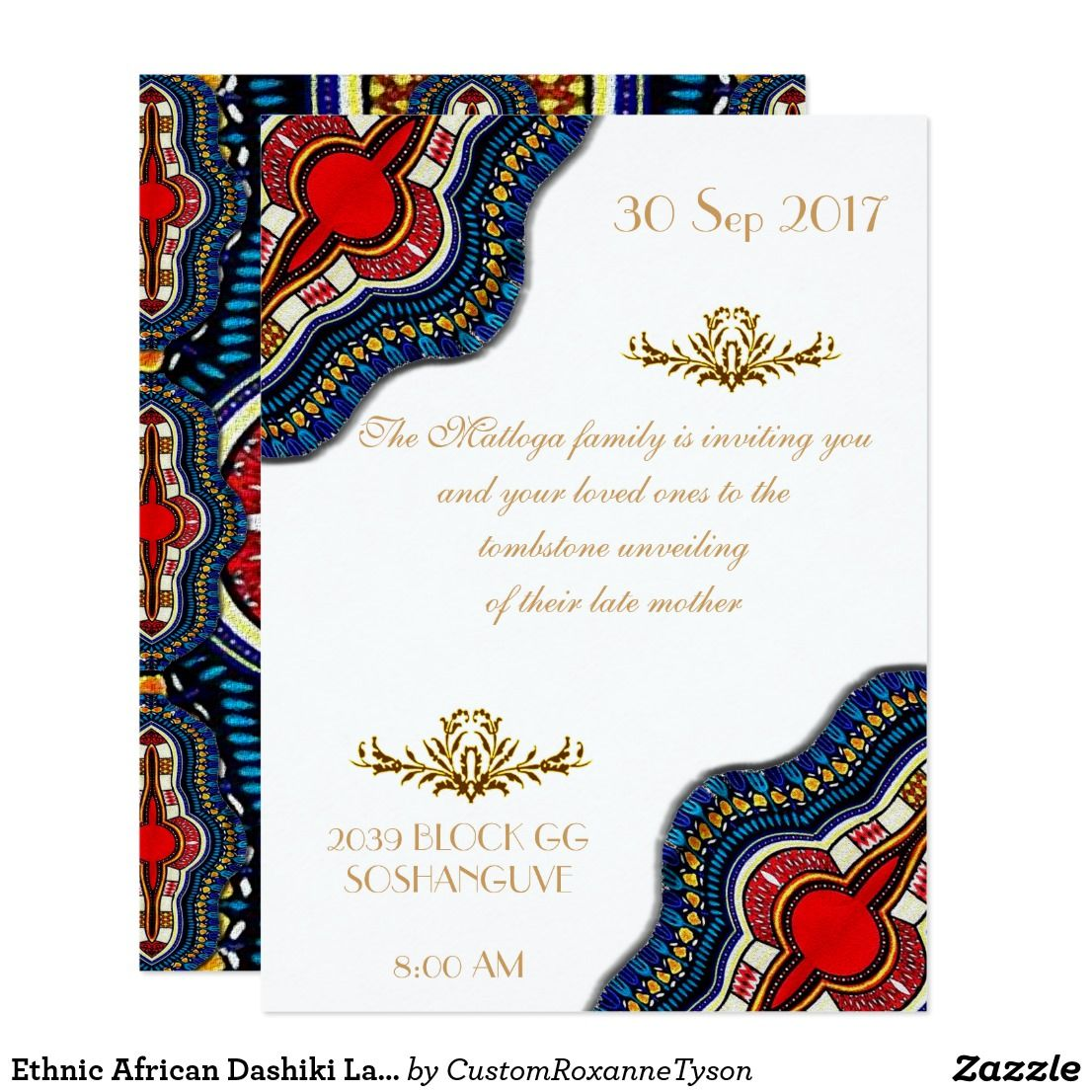 Create Your Own Invitation Zazzle Com In 2021 Wedding Party Cards African Wedding Theme Traditional Invitation