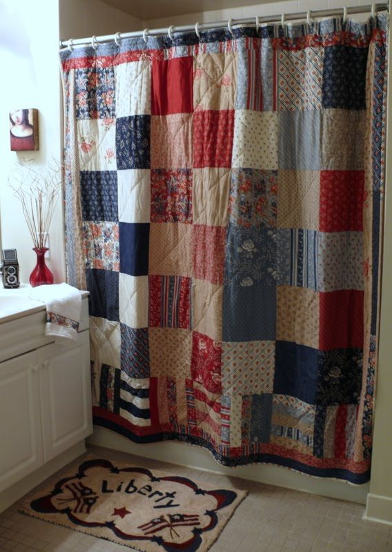 Quilted shower curtain maybe in softer colors sewing for Red door design quilts
