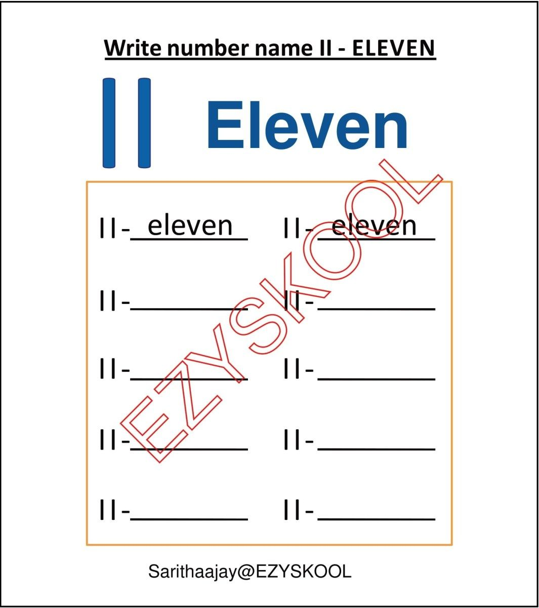 Number Name 11 Eleven In