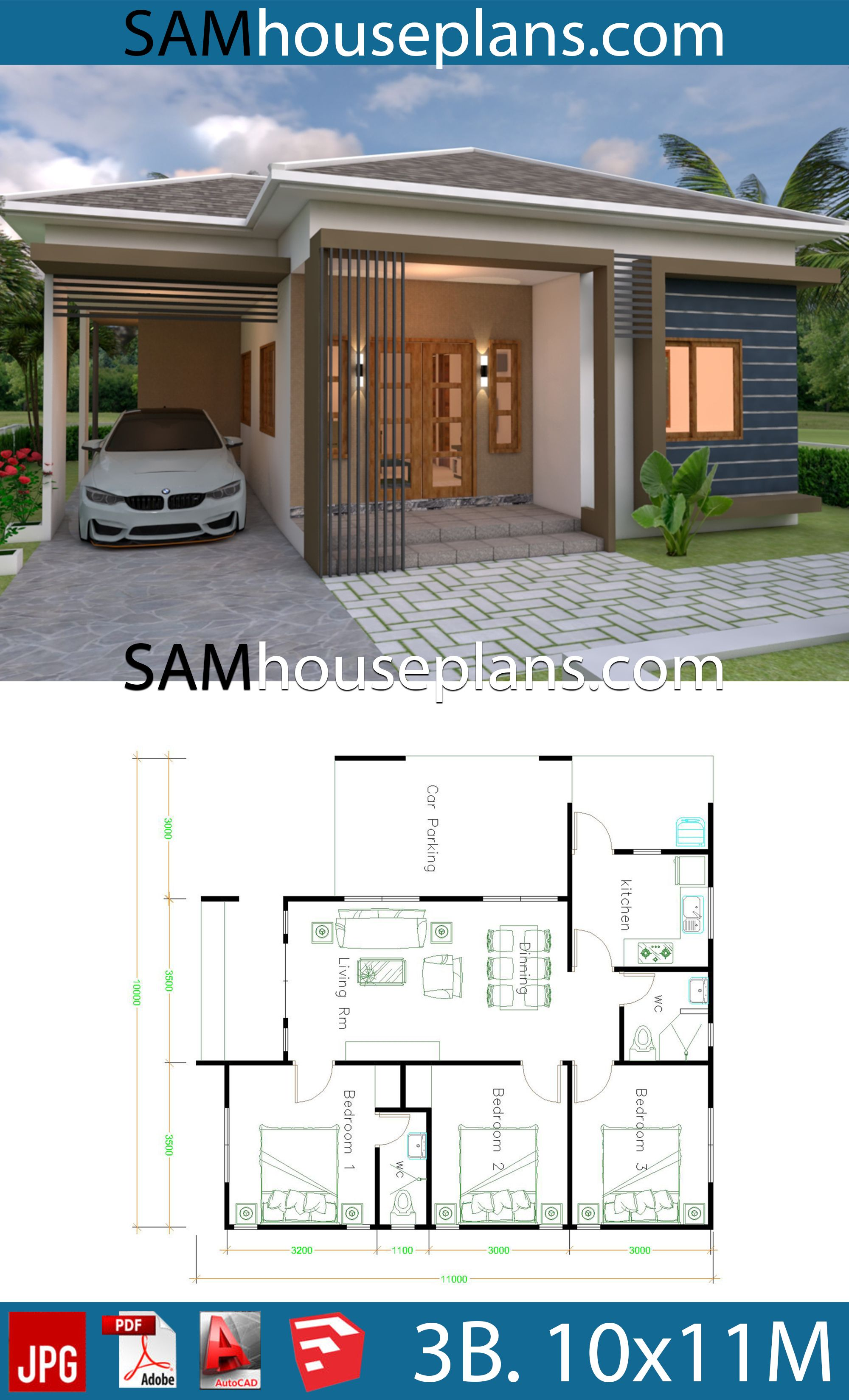 House Plans 10x11 With 3 Bedrooms Roof Tiles House Plans Free Downloads Simple Bungalow House Designs Bungalow House Design Modern Bungalow House